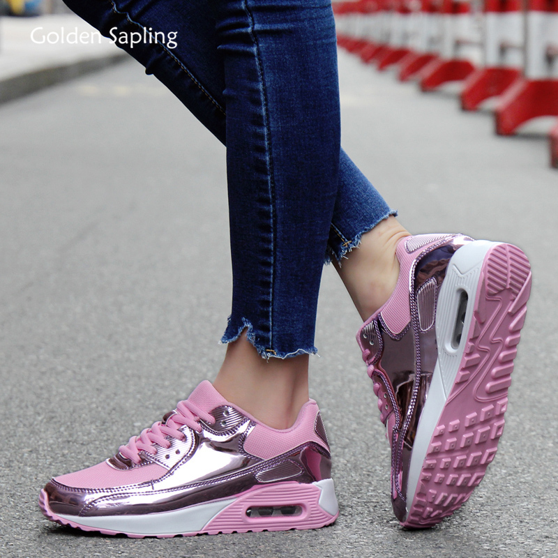 Golden Sapling Classic Women's Sneakers Air Cushioning Fitness GYM Sport Shoes Women Breathable Mesh Trainers New Running Shoes