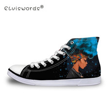 ELVISWORDS Black Girls Afro Women Prints Canvas Shoes High Top Comfortable Sneakers Vulcanize Flats for Woman 35-42