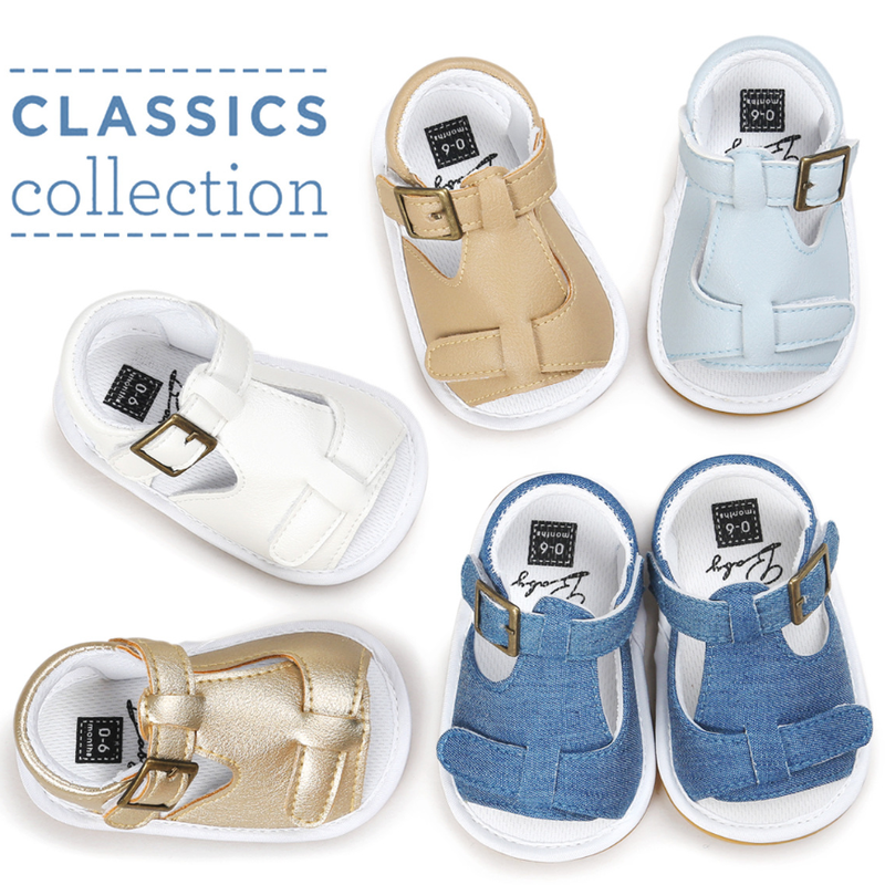 Newborn Baby Boy Girl Shoes Classical Sandals Canvas PU Rubber Soft Shoes Anti-slip Toddler First Walkers Infant Baby Crib Shoes