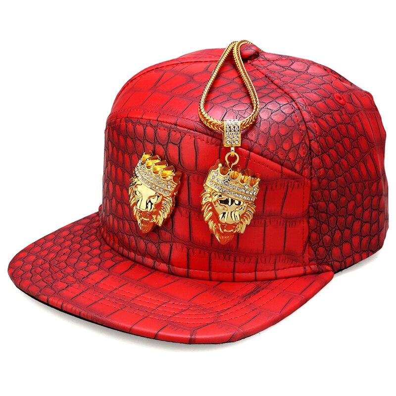 Hip Hop Crown Lion Head Logo PU Leather Baseball Cap Rap 5 Panel Metal Casual Belt Buckle Snapback Hats Men Black Red Gold