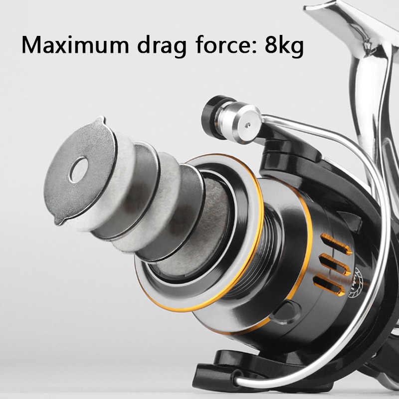 Металлическая Рыболовная катушка GW 1000-7000, 14 + 1 шарикоподшипник, максимальное усилие фрикциона 8 кг, без зазора, спиннинговая катушка