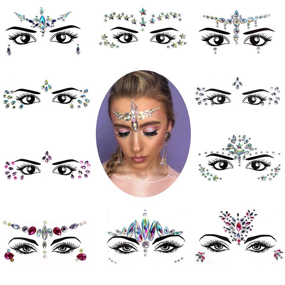 3D Crystal Face Sticker Music Festival Trendy Shiny Acrylic Drill Sticker Masquerade Face Decoration Temporary Tattoo Sticker