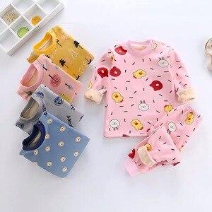 Детские пижамы, комплект термобелья, новая зимняя детская плотная осенняя одежда с плюшевой подкладкой, костюм с длинными штанами