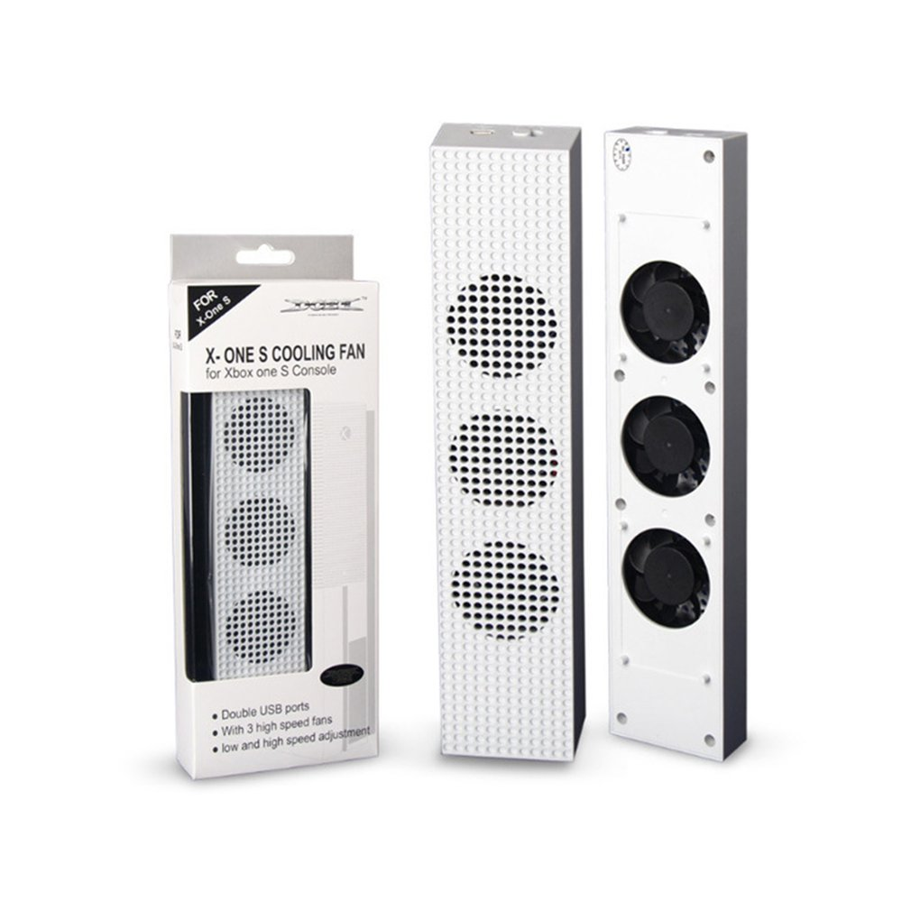 for Xbox One S Cooling Fan with <font><b>2</b></font> <font><b>USB</b></font> Ports Hub and <font><b>3</b></font> H/L Speed Adjustment Cooling Fans Cooler for Xbox One Slim Gaming Console image