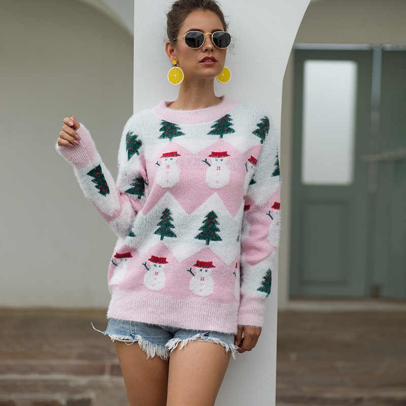 Knit Christmas Sweater Women Christmas Tree Santa Claus O-neck Knitted Pullovers Sweaters Printed  New Year Tops Autumn Winter