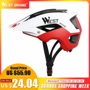 OESTE 56-62 centímetros Respirável Ultraleve MTB BIKE Bicicleta Capacete Integralmente-moldado Mountain MTB Ciclismo Capacete de Segurança Da Bicicleta capacete