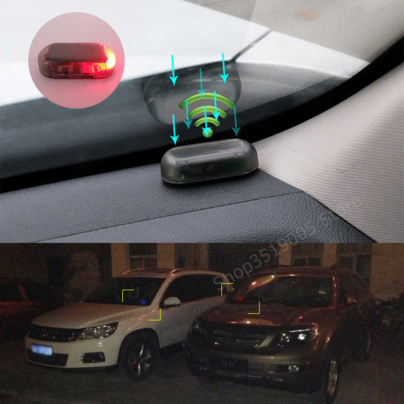 Car Solar Power simulate Alarm LED Light Warning Stickers for Audi A1 A3 8P 8l 8v A4 B5 B6 B7 B8 A5 A6 C5 C6 4F 4B Q3 Q5 Q7 S3