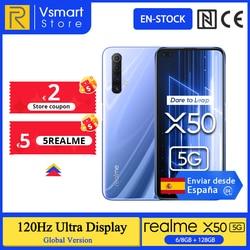 Глобальная версия realme X50 X 50 5G 6 ГБ 128 6,57 ''Смартфон Snapdragon 76 5G 120 Гц ультра Дисплей 48MP Quad камеры мобильного телефона 30W