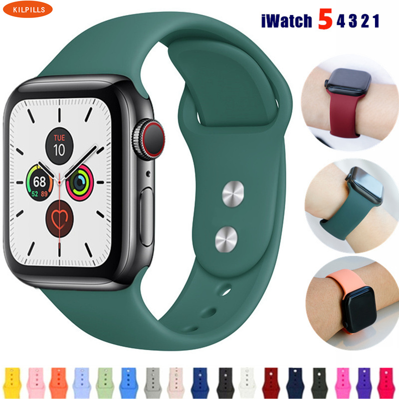 Strap For Apple Watch Band 44 Mm/40mm IWatch Band 42mm 38mm Silicone Sport Bracelet Watchband For Apple Watch 5 4 3 2 1 40 44mm