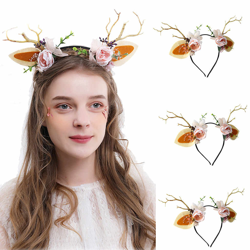 2019 Fashion New Cute item Top Knot Turban Trend Unisex Headband Funny Antlers Headband Deer Party Hats for Easter Christmas