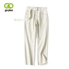 GOPLUS C7179 VINTAGE สีขาวแฟนตรงกางเกงยีนส์สูงเอวข้อเท้ายาวกางเกงยีนส์พลัสขนาดคาวบอยกางเกงผู้หญิง