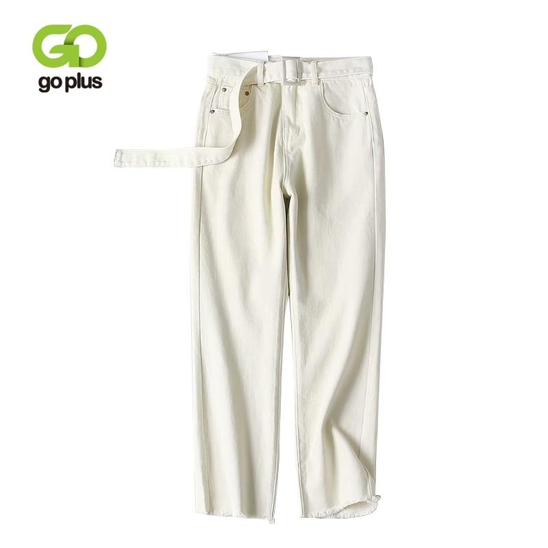 GOPLUS 2019 Vintage White Boyfriend Straight Jeans Femme High Waist Ankle Length Plus Size Cowboy Pants For Woman C7179