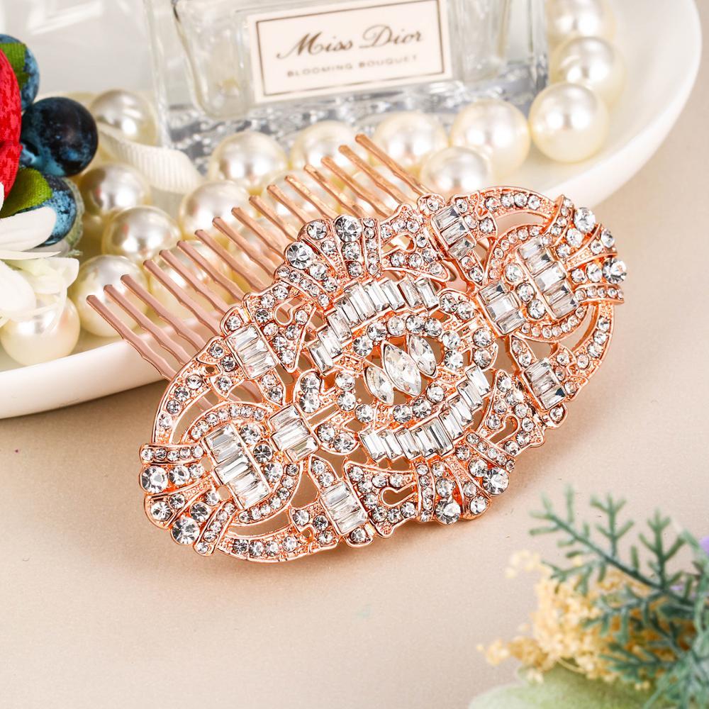 Tuliper Great Gatsby Bridal Hair Pins Ženy Hairwear Hřeben Svatební Vlasové doplňky Party Crystal HeadPieces Jewelry Ornament