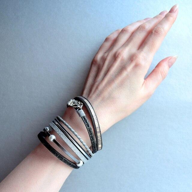 ALLYES Leather Bracelets Tree of Life Ladies Bohemian Multilayer Wide Wrap Bracelet 2