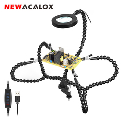 NEWACALOX Desk Clip PCB Soldering Holder 3X Magnifier with LED Light Welding Helping Hand Flexible Arm Soldering Third Hand Tool