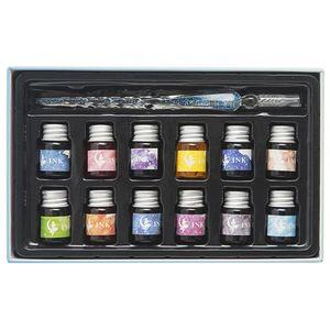 Image 4 - Pluma de tinta de cristal cielo estrellado pluma de inmersión de vidrio para pluma estilográfica para escribir, Set de regalo