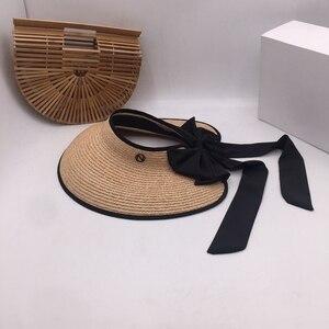 Image 2 - ラフィット草トップ帽子夏の韓国語バージョンのフォールディングサンシェードわら帽子リボン弓日焼け帽子太陽帽子