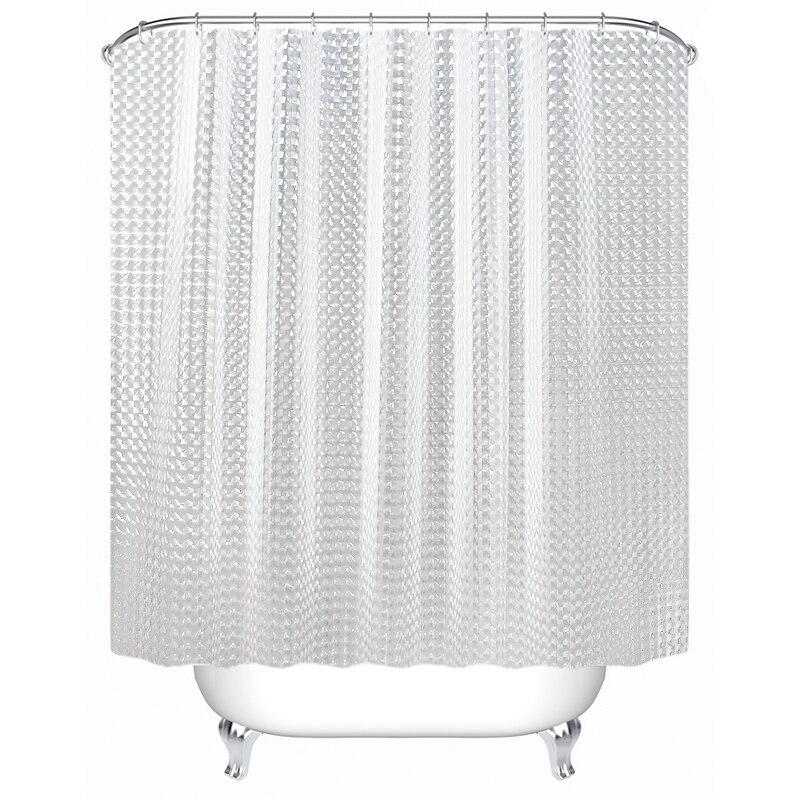 SDARISB พลาสติก PEVA 3D ผ้าม่านกันน้ำสีขาวโปร่งใสล้างห้องน้ำผ้าม่านหรูหรา 12pcs Hooks