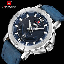 цена на NAVIFORCE Sport Waterproof Creative Watches Luxury Brand Quartz Watch Leather Strap Calendar Fashion Clock Men Relogio Masculino