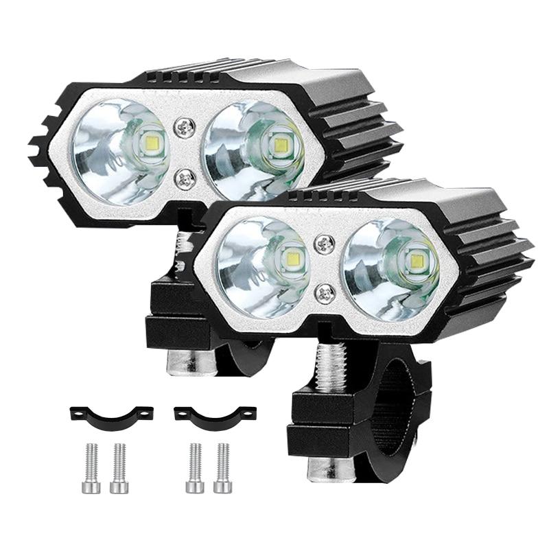 Headlight Led Motorcycle X2 20W Bulbs Headlights Spotlights Fog Light for Motorbike scooter Bicycle 12V Moto Light Driving Lamp
