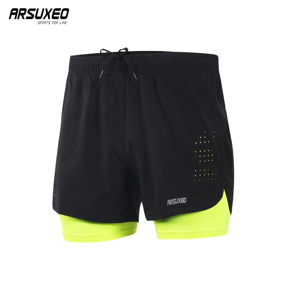 ARSUXEO Men's Running <font><b>Shorts</b></font> Outdoor <font><b>Sports</b></font> Training Exercise Jogging Gym Fitness <font><b>2</b></font> <font><b>in</b></font> <font><b>1</b></font> <font><b>Shorts</b></font> with Longer Liner Quick dry B179 image