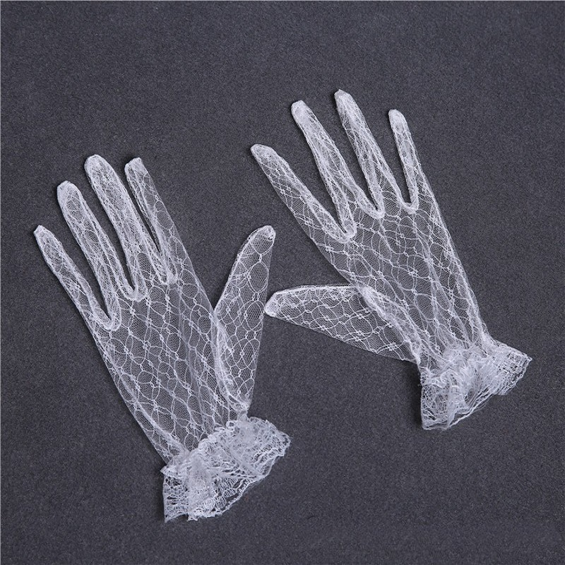 Cheap Short Lace Bridal Gloves White Waist Length Gloves Sexy Wedding Gloves Gant Enfant Mariage ST236