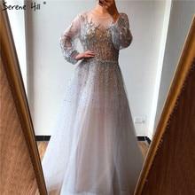 Srebrne luksusowe długie rękawy dubaj suknie wieczorowe 2020 line wzory z cekinów seksowna suknia Serene Hill LA70418