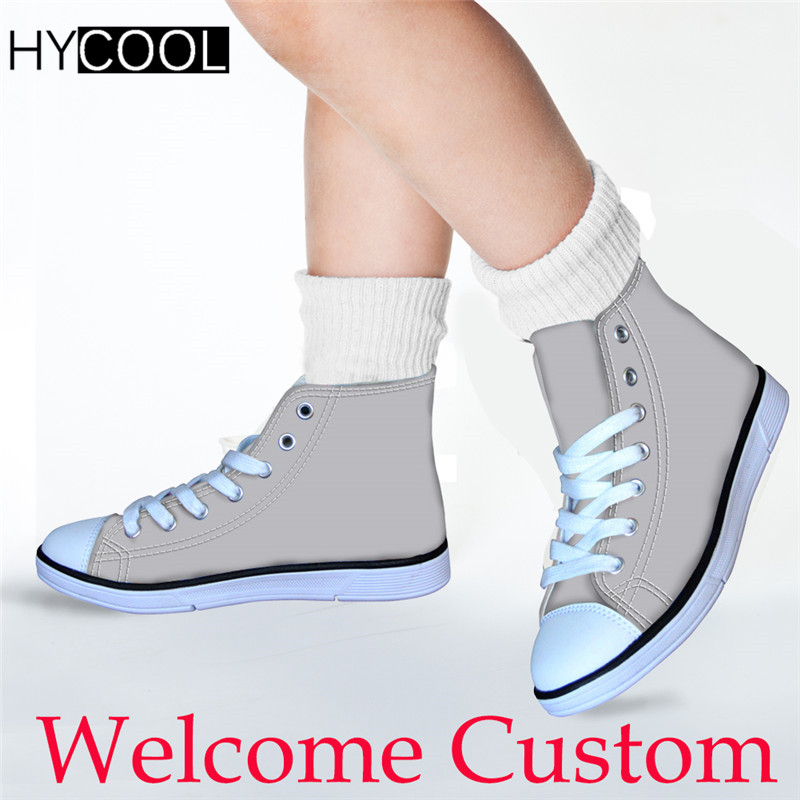 HYCOOL Children Sport Shoes for Boys Girls Customized Logo Image Kids High Top Canvas Shoes Unisex Walking Shoes Footwear 2019