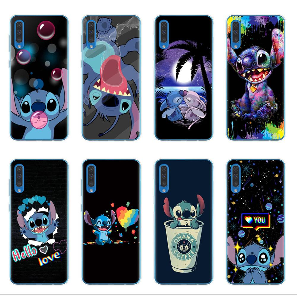 Soft TPU Phone Case For Samsung A10 A20 A30 A40 A50 A70 A7 A9 A6 A8 Plus 2018 Cute cartoon Stitch Cover Coque Capa Funda Shell image