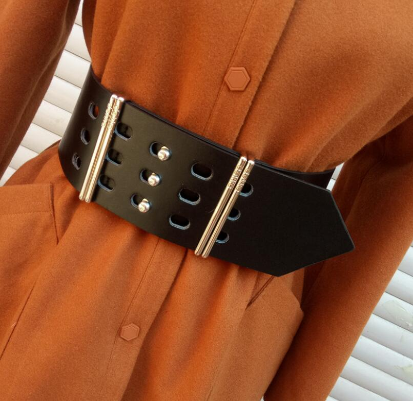 Women's Runway Fashion Pu Leather Cummerbunds Female Dress Corsets Waistband Belts Decoration Wide Belt R2565
