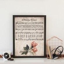 Increíble Impresión de Grace Vintage hoja de música póster antiguo rosa de arte de pared lienzo pintura imagen de la canción cristiana granja Decoración