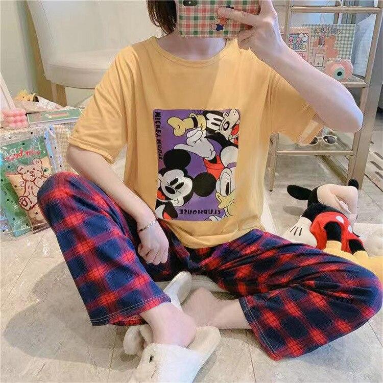 calças de manga curta pijamas feminino solto serviço de casa terno