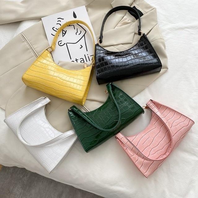 Moda requintado saco de compras retro casual feminina totes bolsas de ombro feminino couro cor sólida corrente bolsa para mulher 2020 6