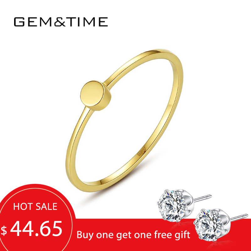 Gem&Time Pure 14K Gold Rings For Women Wedding Engagement Yellow Gold 585 Fine Jewelry Bague De Ouro Pur Au585 Gifts R14142