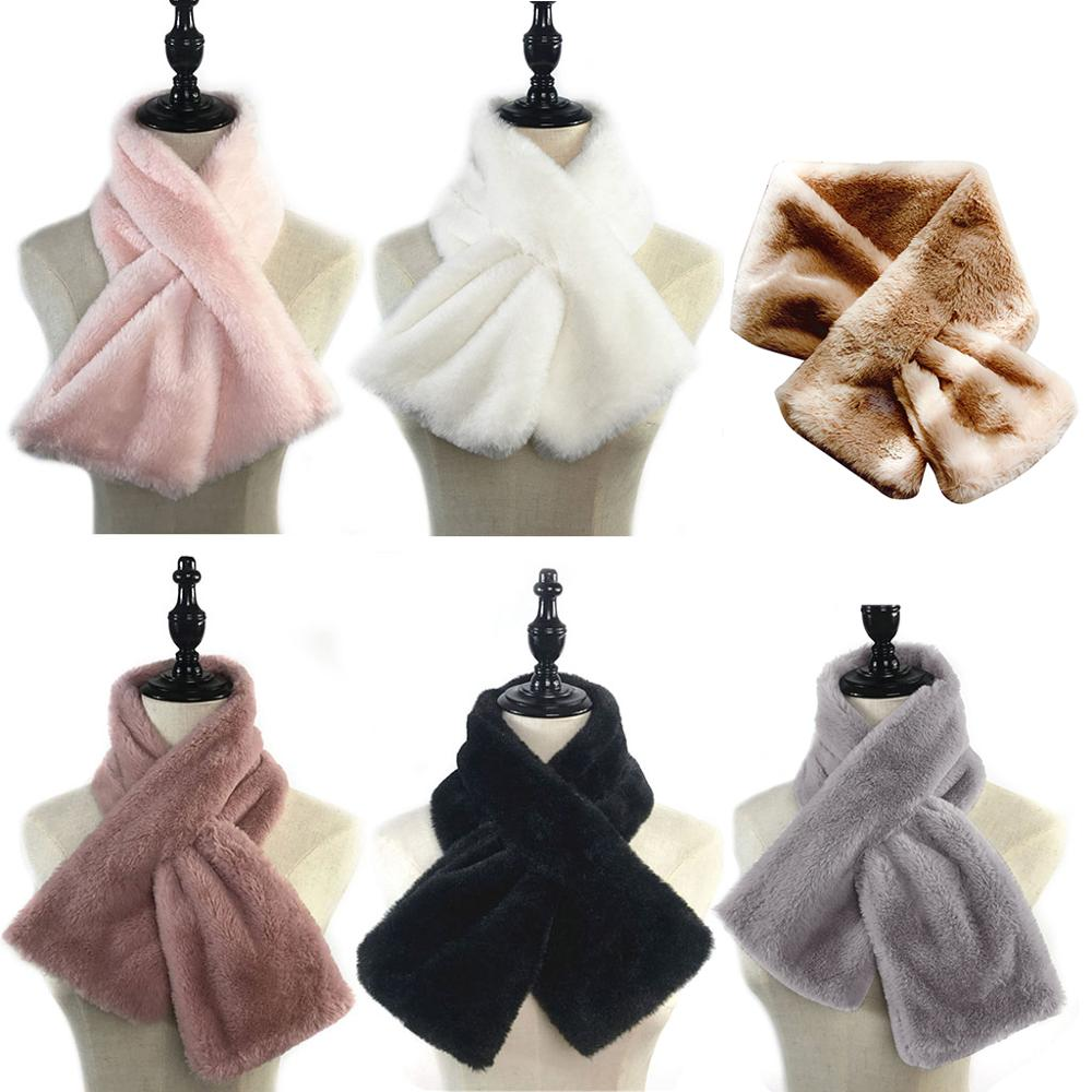 15x90cm Women Winter Thicken Plush Faux Rabbit Fur Scarf Solid Candy Color Collar Shawl Neck Warmer Shrugs Knitted Neckerchief L
