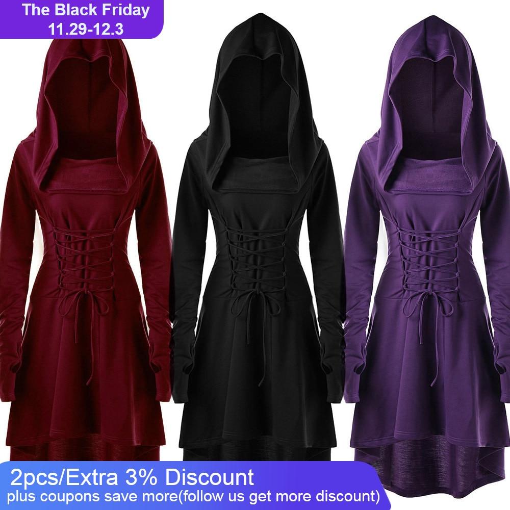 Hoodie Dress 2019 Vintage Long Sleeve Gothic Dress Women Casual Fashion Elegant Dresses Woman Party Night Vestidos Dresses  - AliExpress