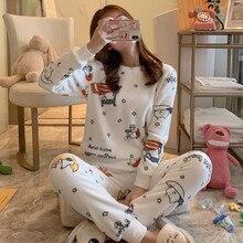 2019Large size flannel pajamas for women warm autumn winter pajama