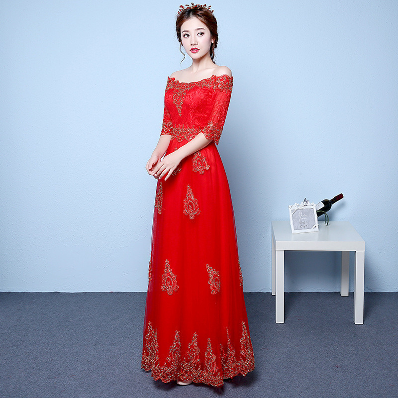 Bridesmaid Dresses Long Sleeves  Long Dress For Wedding Party For Woman A-Line Boat Neck Lace Women Dress Red For Bridemaide