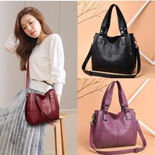 2019 New Women Handbag Red Leather Luxurious Female Shoulder Bag Designer Retro Messenger Bags High Quality Large Tote
