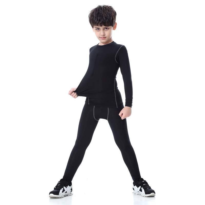 Autumn & Winter Child Models Tight Sports Fitness Training Athletic Pants Elasticity Quick-Drying Primary School STUDENT'S Fitne