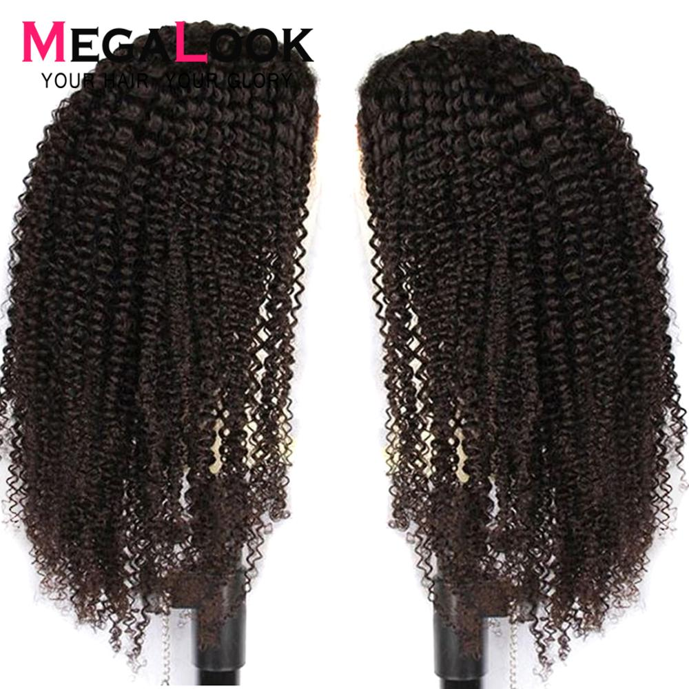 Kinky Curly Wig Human Hair 360 Lace Frontal Wig Pre Plucked With Baby Hair 30 Inch Wig Peruvian Frontal Wigs Megalook Remy Hair