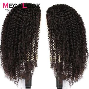 Image 2 - Mongolian Kinky Curly Wig Human Hair 360 Lace Frontal Wig Pre Plucked With Baby Hair Frontal Wigs Remy Megalook Hair 30 Inch Wig