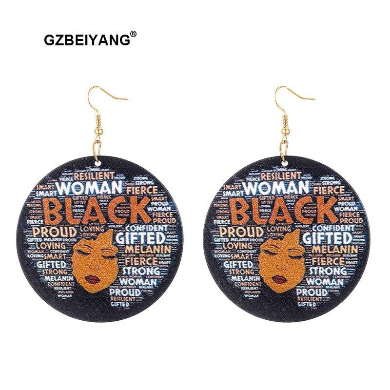 GZBEIYANG African Wooden Earrings 2019 Women Black Painted Pendant Earrings Gift for Women Girls Fashion Jewelry Earrings