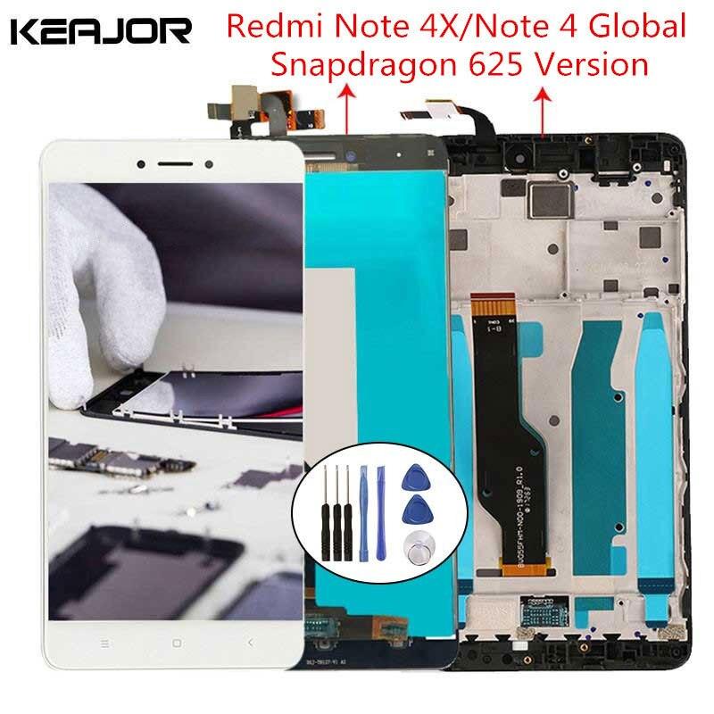 Para xiaomi redmi nota 4x tela lcd redmi nota 4 tela com moldura para redmi nota 4 versão global 5.5 snapsnapsnapdragon 625
