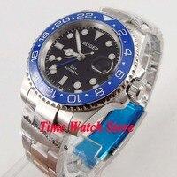 Bliger 40 мм GMT 3804 автоматические мужские часы черный циферблат светящийся сапфировое стекло синий керамический ободок Дата Лупа Водонепроница...