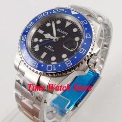 Bliger 40mm GMT 3804 automatyczny męski zegarek czarna tarcza luminous szafirowe szkło niebieska ceramiczna ramka szkiełka zegarka data lupa wodoodporna 175