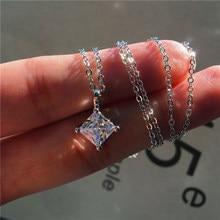 Niedliche Weibliche Kristall Zirkon Stein Anhänger Halskette Boho Kleine Silber Farbe Kette Halsketten Für Frauen Vintage Hochzeit Schmuck