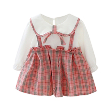 Baby Girl Clothes 0-3T Plaid Pattern Girls Dresses Fashion Cute Fake Two-piece Long Sleeves #m