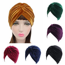 Muslim Stretch Women Velvet Cross Turban Hat Scarf hijab scarf turban Caps Cancer Headwear Multifunctional Turban femme musulman(China)