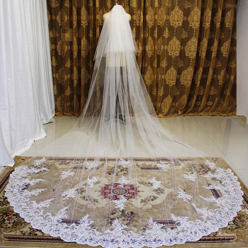 High Quality Lace Long Wedding Veil 4 Meters 2 Layers Bridal Veil With Comb White Ivory  2T 4M Veil Wedding Accessories